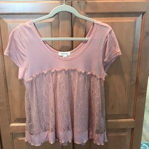 Taylor & Sage l, mauve colored lace layered blouse